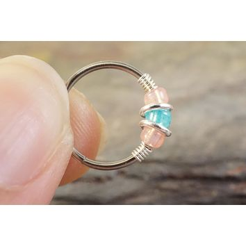 18 or 20 Gauge Rose and Teal Iridescent Nose Hoop Ring or Cartilage Hoop Earring