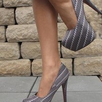 Grey zigzag pring platform shoes (Maria) from Chockers Shoes