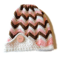 Womens Slouch Beanie Hat Brown Pink White