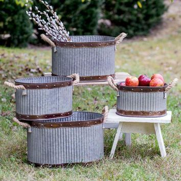 Set of Four Corrugated Oval Bins