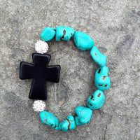 Turquoise with Black Cross Bracelet