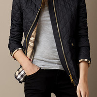 Corduroy Collar Quilted Jacket