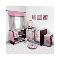 Elephants Pink/Grey 10 Piece Crib Set For Girls Bumper Pad Baby Bed Infant Sheets Bedding