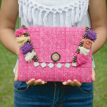 Tribal Clutch Bag with Ethnic Hmong Handmade Batik Fabric in Pink