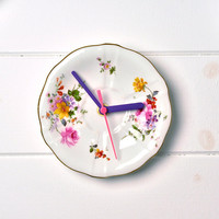 Royal Crown Derby Country living flowery Vintage China Plate Wall Clock