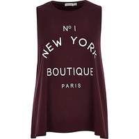 River Island Womens Red No 1 New York Boutique Paris tank top
