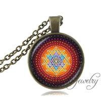 Fashion Buddhist Sri Yantra Pendant Necklace Sacred Geometry Sri Yantra Jewelry, Jewelry