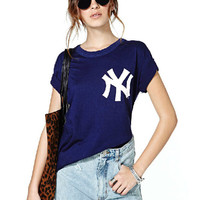 Blue NY Print Short Sleeve Graphic T-Shirt