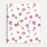 Little Pink Roses Notebook, Waterproof Cover, Journal, Roses Notebook, Floral Journal, School Supplies, College Ruled