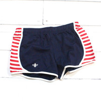 Comfy Running Shorts {Navy + Red Stripes}