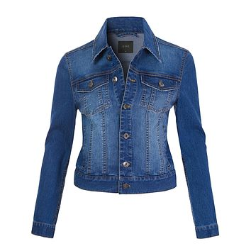Classic Vintage Long Sleeve Button Down Denim Jean Jacket (CLEARANCE)
