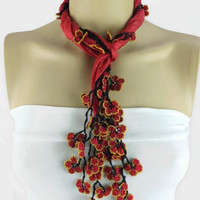 Crimson Red  Silk Scarf with Turkish  crochet Flower Oya Edges , Red  silk  Foulard, Red silk Scarflette, Red  cowl, gift ideas for her