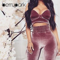 BerryPark New 2019 High Quality Velvet Woman Sets Velour Strap Crop Top + Long Pants Suit Solid Bodycon 2 Piece Set Sport Outfit