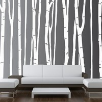 """Large Wall Birch Tree Decal Forest Kids Vinyl Sticker Removable (9 Trees) 84"""" (7 Feet) Tall #1109"""