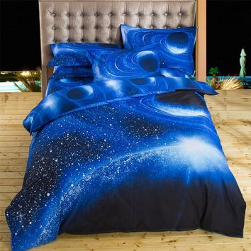 2017 3D Bedding Sets Universe Outer Space Blue Galaxy New 4 3pcs Quilt Duvet Cover Bed Sheet Sell Pillowcase Twin Queen XK003