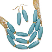Triple Strand Blue Bead Fashion Necklace and Earring Set