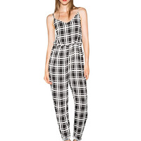 Black And White Plaid Jumpsuit