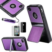 ATC PPYPLE Active Smart Case Protective Cover Signal Boost and Power Saving - Retail Packaging - for Apple iPhone 4s iPhone 4 with Stylus Pen (Purple)