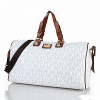 Samplefine2 MK MICHAEL KORS Classic Popular Women Leather Multicolor Luggage Travel Bags Tote Handbag White I-MYJSY-BB