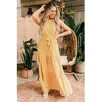 Stay Young Polka Dot Maxi Dress (Mustard)