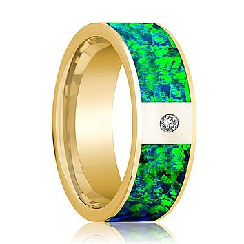 Flat Polished 14k Yellow Gold and Diamond Men's Wedding Band with Emerald Green and Sapphire Blue Opal Inlay - 8MM