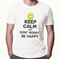 Mens Keep Calm and Be Happy - Stay Happy Boys funny Shirt - Smiley Face Motivation Tshirt - Gift For Boyfriend High Shirt - 2207
