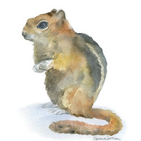 Chipmunk Watercolor Painting 11 x 14 Giclee Reproduction - Nursery Art - Woodland Animal