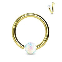 BodyJ4You Nose Ring Hoop Tragus Helix Earring Opal Stone Gold Stainless Steel 16G Piercing Jewelry
