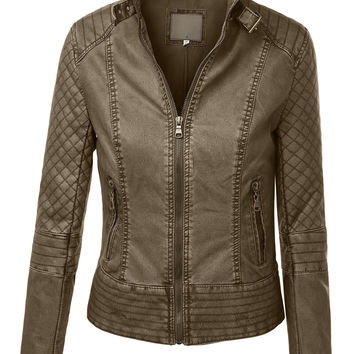 LE3NO Womens Faux Leather Quilted Zip Up Moto Biker Jacket With Stitching Detail