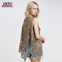Froral Patch Design Vest Retro Vintage Crochet Summer Beach Cover Up Asymmetric Open Stitch Kimono