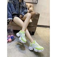 Prada 2021 Women's Leather Cloudbust Thunder Sneakers Sport Shoes GREEN