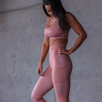 Rose Gold High-Waisted Leggings w/pockets