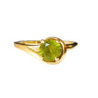 10K Gold Peridot Ring Solitaire Band Promise Engagement August Birthstone Vintage Jewelry