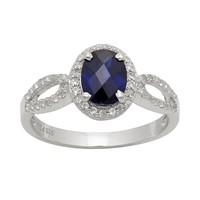 Sterling Silver Lab-Created Sapphire & Lab-Created White Sapphire Halo Ring (Blue/Stone/Sapphire)