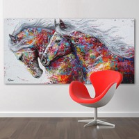 QKART Oil Painting Animal Wall Art Pictures For Living Room Home Decor Posters The Two Running Horse No Frame Canvas Painting
