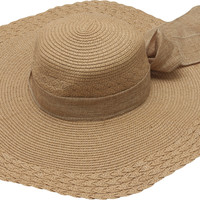 Dropship Coffee Floppy Straw Sun Hat with Bow Tie Band