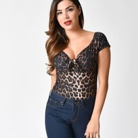 Hell Bunny Leopard Print Feline Knit Pinup Top