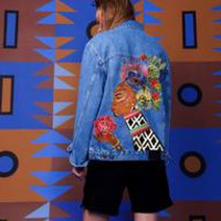 Woman With Flowers Denim Jacket