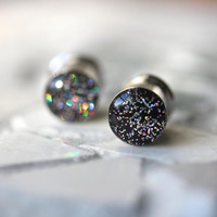 Silver Glitter Ear Plugs, Sparkly Silver Ear Gauges, Resin Gauges, Girl Plugs - sizes 4g, 2g, 0g, 00g, 7/16, 1/2, 9/16, 5/8, 3/4, 7/8, 1""