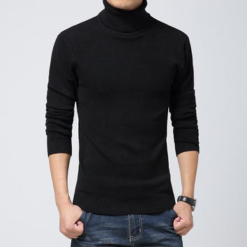 Solid Knitted Slim Fit Turtleneck Sweater - 5 Colors