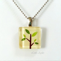 ON SALE 20% OFF Cute tree scrabble size 20mm glass tile necklace, for eco lovers