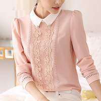 Fashion 2016 Women's max white collar Linen blouse Tops, female Long Sleeve Casual office lace Blouse Autumn Summer Shirts
