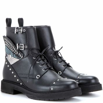 Embellished leather combat boots