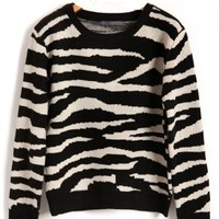 Black & White Zebra Stripe Thicken Sweaters with Batwing Sleeves