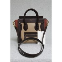 Celine Tricolor Beige Smooth Leather & Suede Nano Luggage Bag, Sold Out in Stores