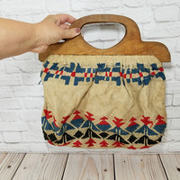 Vintage Woven Tapestry Wooden Handle Purse