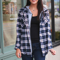 Out of the Woods Plaid Hoodie {Navy Mix}