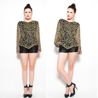 80s 90s Black Baroque Beaded Blouse - 1990s Heavily Ornate Deco Slouchy Sheer Sleeve Silk Top - S M