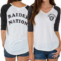 Oakland Raiders Junk Food Women's Victory Tri-Blend V-Neck Three-Quarter Sleeve T-Shirt – White
