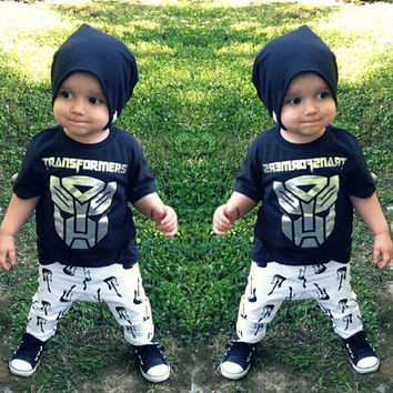 2PCS Newborn Baby Children Boy Clothing Sets Summer Cute Cartoon Tiger T Shirt + Long Pants Outfits Suits Costume New 1 2 3 4 5Y